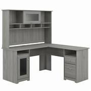 Bush Furniture Cabot 60W L Shaped Computer Desk with Hutch, Gray