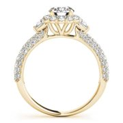 Allurez 14k Gold Flower Halo Pear Accents Diamond Engagement Ring 1.75ct