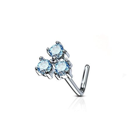 MoBody 20 Gauge Nose Ring Stud L-Shaped Three Prong CZ Triangle 316L Surgical Steel Body Piercing Jewelry (Aqua CZ)