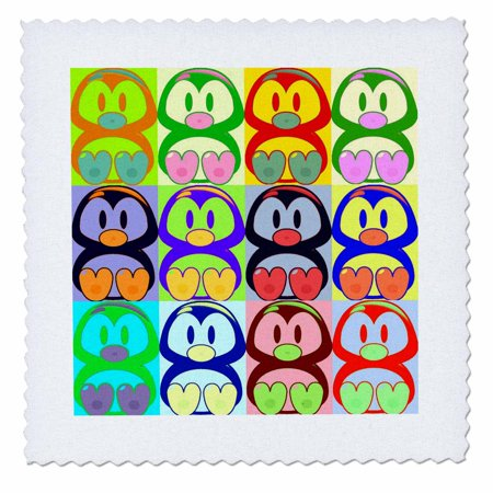 3dRose Cartoon Penguin Pop Art - Quilt Square, 6 by 6-inch - Halloween Pops Quilt Kit