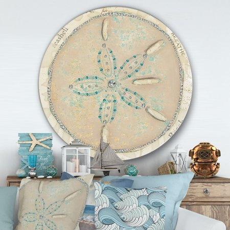 DESIGN ART Designart 'Seastar and Blue Sea Shell II' Nautical & Coastal Metal Circle Wall Art ()