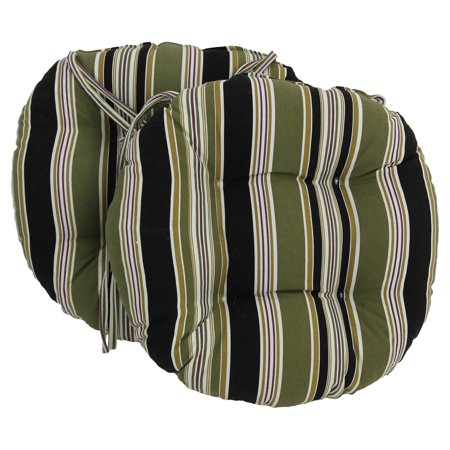 Blazing Needles 16 X 16 Round Outdoor Cushions With Ties Set Of 2