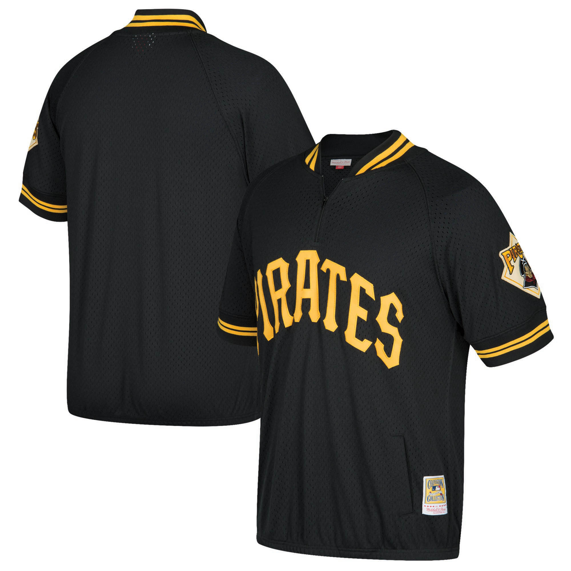 Pittsburgh Pirates Mitchell & Ness Cooperstown Collection Mesh Batting Practice Quarter-Zip Jersey - Black