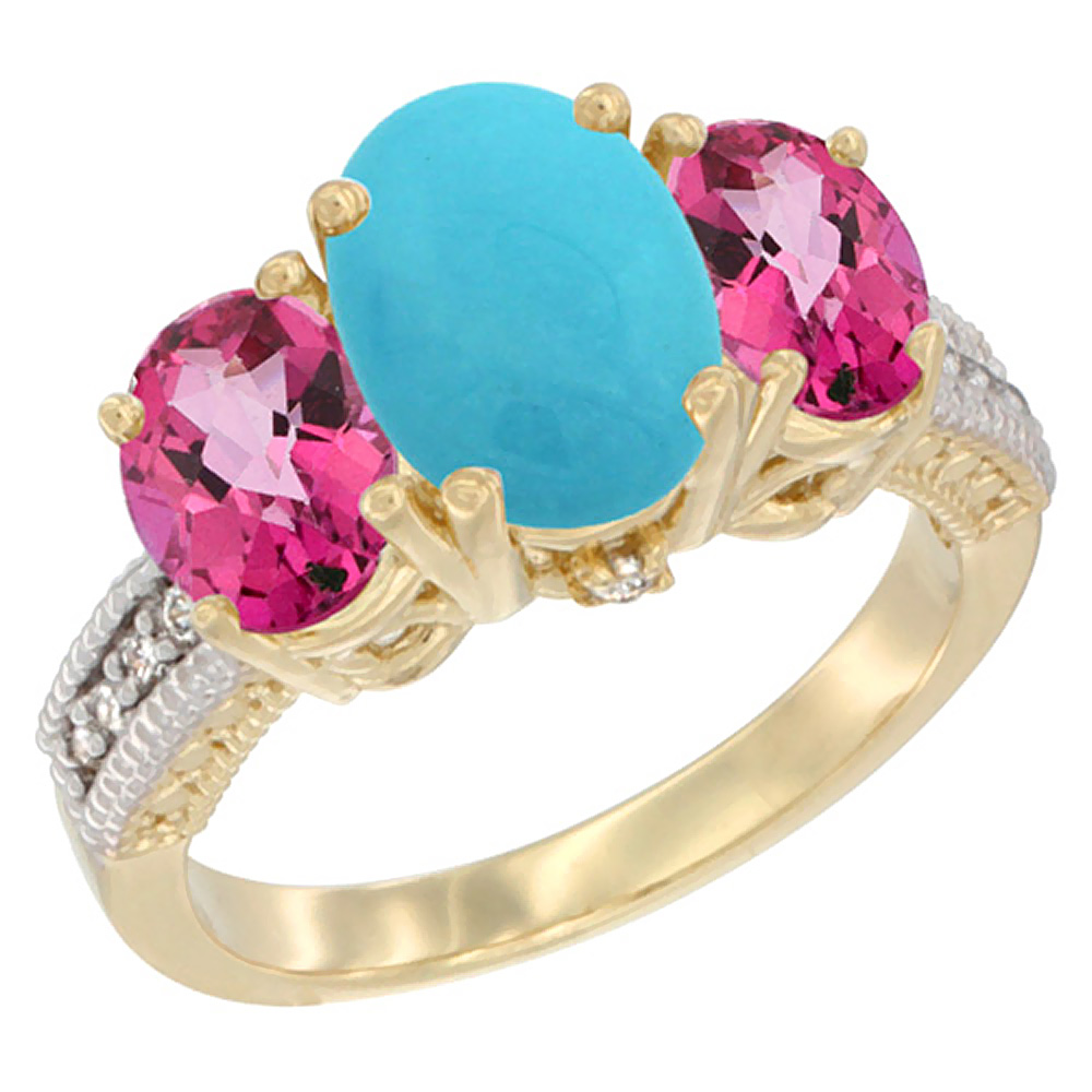 10K Yellow Gold Diamond Natural Turquoise Ring 3-Stone Oval 8x6mm with Pink Topaz, sizes5-10 by WorldJewels