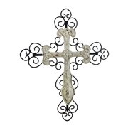 off white distressed finish decorative wall cross - Decorative Wall Crosses