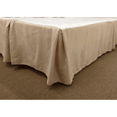 Qutain Linen Tailored Bed Skirt Dust Ruffle Solid Taupe Full