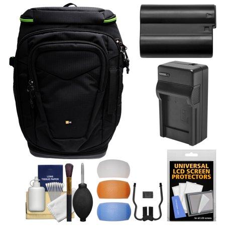Case Logic Kontrast KDB-101 Pro DSLR Camera Backpack Case with EN-EL15 Battery & Charger + Kit for Nikon D7100, D7200, D610, D750, D800, D810