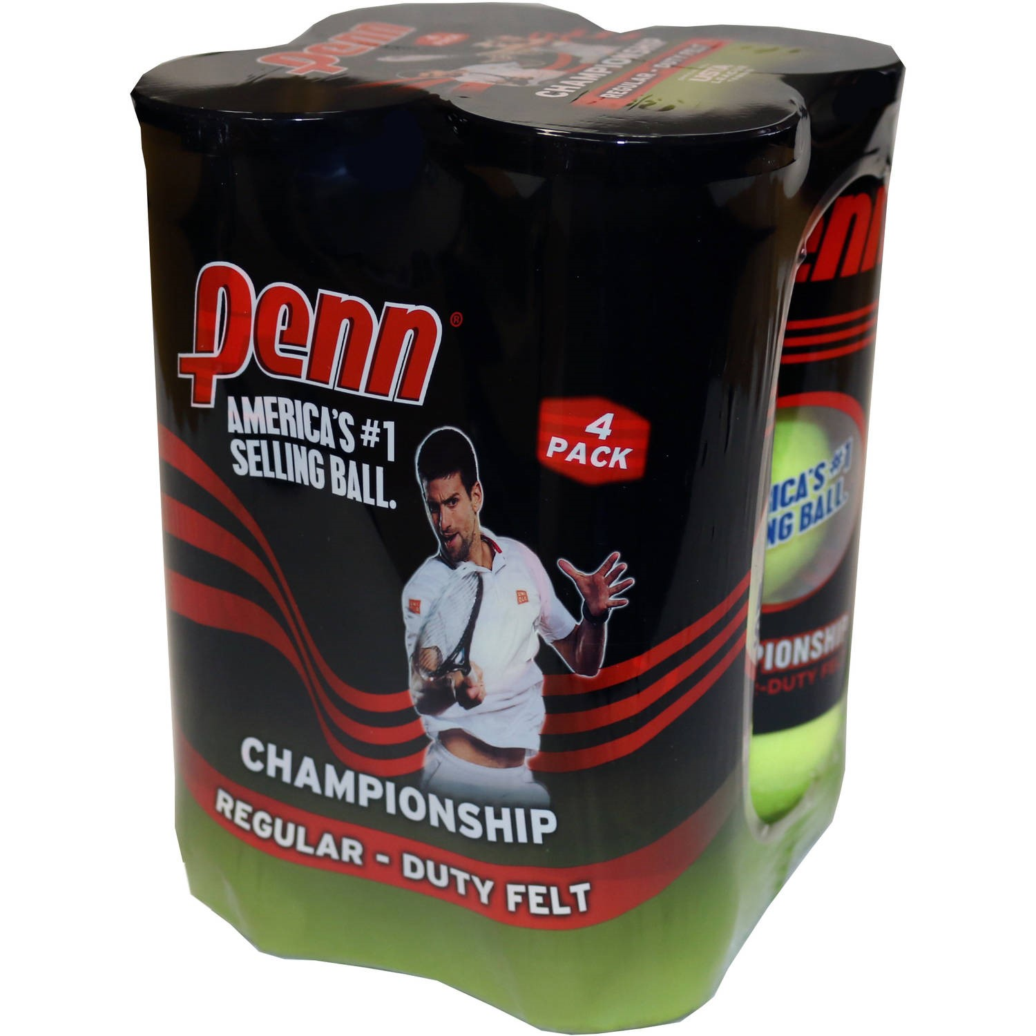 Penn Championship Regular Duty Tennis Balls - 4 pack (Shrink wrapped)