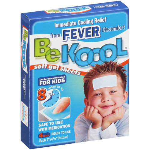 Be Koool: Kids 8 Hour Soft Gel Sheets w/Cooling Relief Fever Reducer, 4 Pk