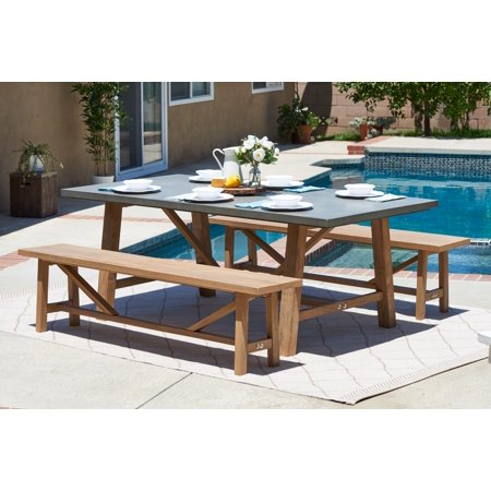 Cement Outdoor Dining Set With 2 Wood Benches