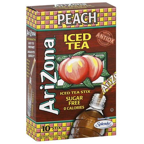 AriZona Sugar Free Peach Iced Tea Stix, 10 count, (Pack of 12) by Generic