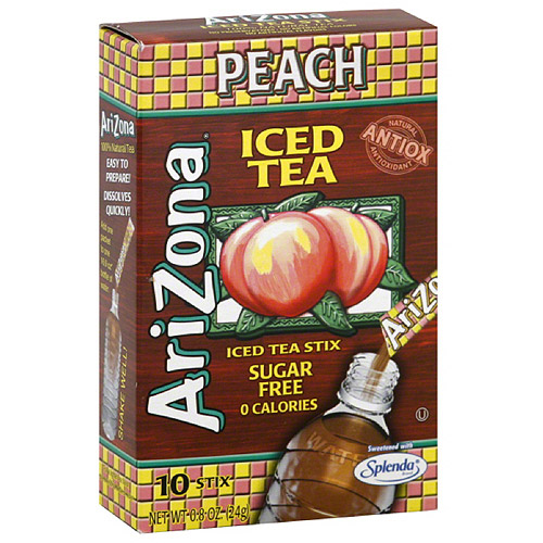 AriZona Sugar Free Peach Iced Tea Stix, 10 count, (Pack of 12)