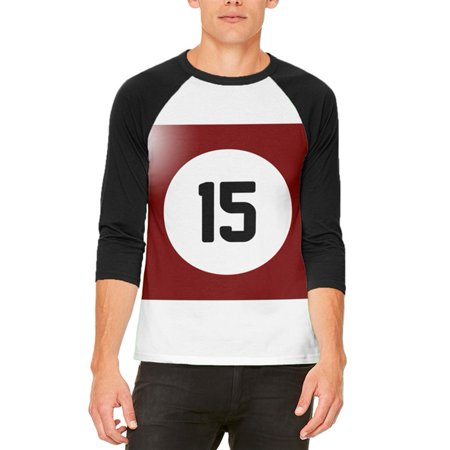 Halloween Billiard Pool Ball Fifteen Costume Mens Raglan T Shirt - Halloween Balls Dublin