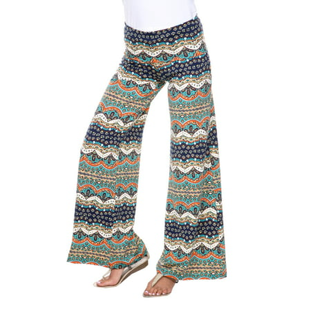 Blue Stretch Pants - Women's Bohemian Printed Palazzo Pants