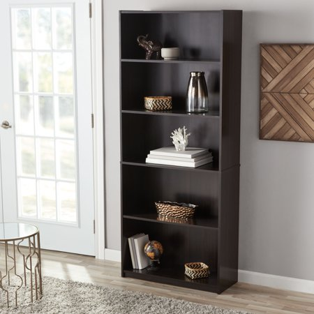 Mainstays 71 5 Shelf Standard Bookcase Espresso
