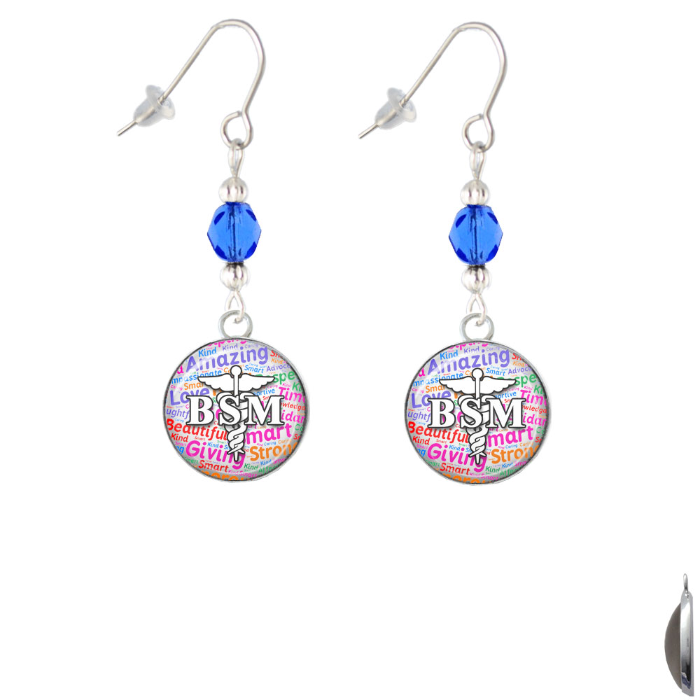 Domed Multi Color BSM Blue Bead French Earrings