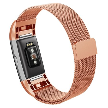 Kutop for Fitbit Charge 2 Strap,Milanese Loop Stainless Steel Bracelet Replacement Band with Unique Magnet Lock Adjustable Watchband for Fitbit Charge 2 (Swiss Army Watch Band Loop)