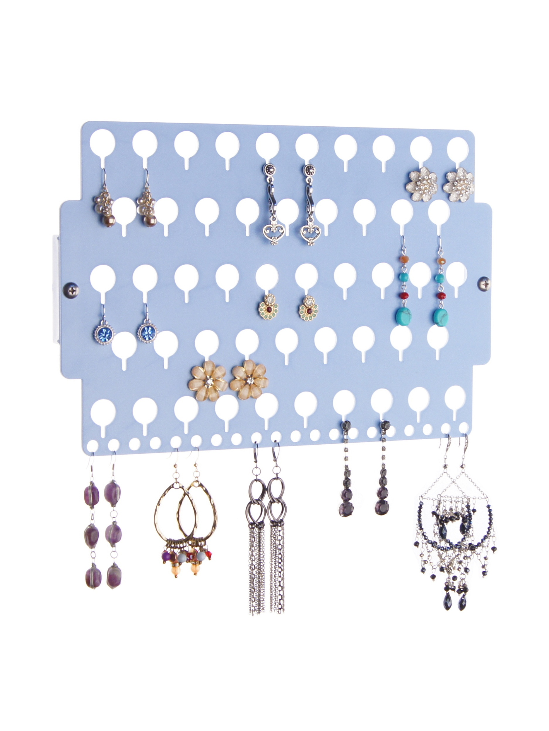 Wall Mount Stud Earring Holder Hanging Jewelry Organizer Rack Closet Storage, Angelynn's Earring Angel White