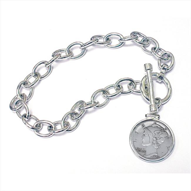 American Coin Treasures 590 Year To Remember Sterling Silver Coin Toggle Bracelet