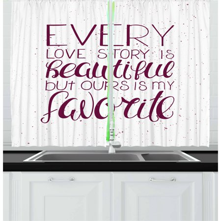 Romantic Curtains 2 Panels Set, Romance Quote Our Story is My Favorite Love and Adoration Theme Calligraphic, Window Drapes for Living Room Bedroom, 55W X 39L Inches, Maroon White, by Ambesonne ()