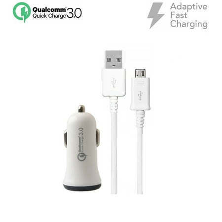 For Huawei Ascend Mate2 Fast Car Plug in Charger qc3+Micro USB Cable 5 feet Set White - image 8 of 9