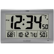 La Crosse Technology Jumbo Atomic Digital Wall Clock with Out Temperature, Silver