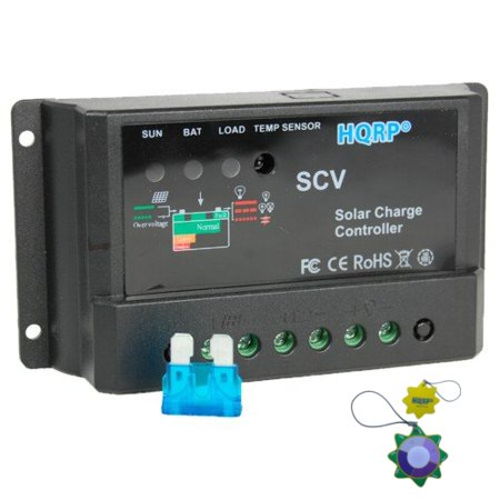 HQRP 10A Solar Panel Power Battery Charge Controller / Regulator 12V / 24V 10 Amp 150W with PWM Type of Charging plus HQRP UV Meter ()