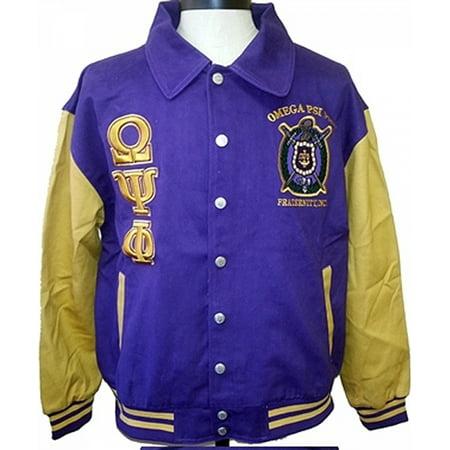 Omega Psi Phi 2 Tone Mens Letterman Twill Jacket  Purple Gold   4Xl