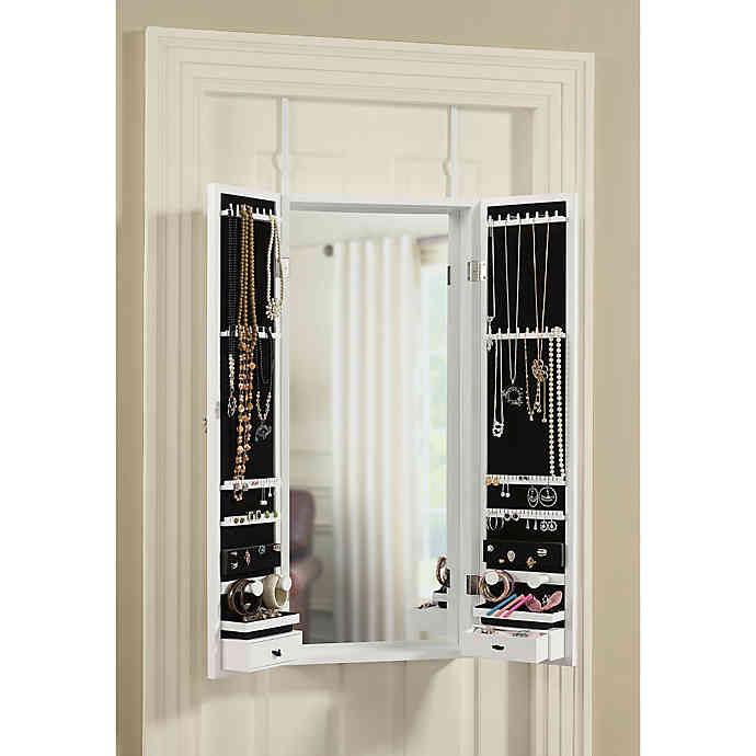 Door Tri Fold Mirror, Over The Door Mirror With Jewelry Storage