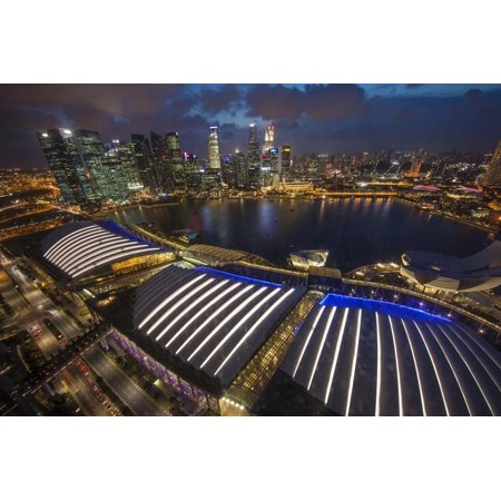 Singapore. Downtown Overview at Night Print Wall Art By Jaynes Gallery - Halloween Night 2017 Singapore