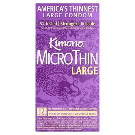 Kimono Micro Thin Large Lubricated Latex Condoms - 12 ct