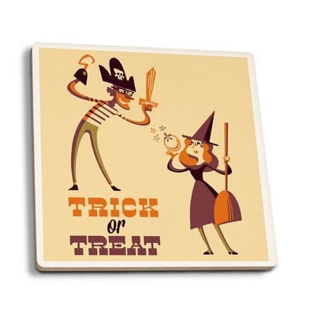 Trick or Treat - Mom & Dad - Retro Halloween - Lantern Press Artwork (Set of 4 Ceramic Coasters - Cork-backed, Absorbent) (Et Mom Halloween)