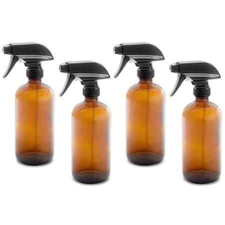 9f63492df201 16oz Empty Amber Dark Brown Glass Spray Bottles w/ Caps & Labels (4 pack) -  Mist & Stream Trigger Sprayer - BPA Free - Boston Round Heavy Duty Bottle  ...