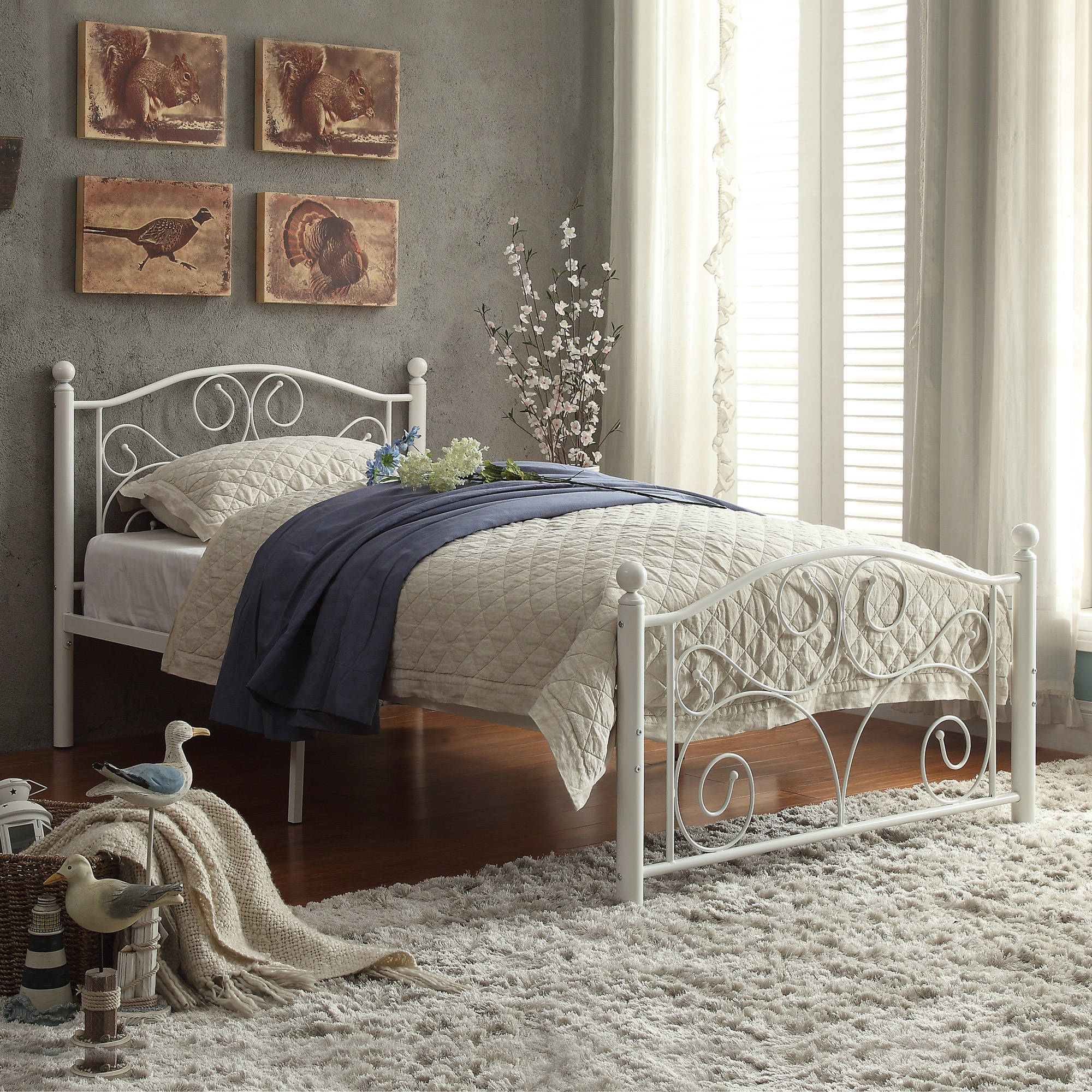 Abigail Metal Platform Bed, White, Multiple Sizes