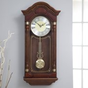 """Stately Dark Brown Solid Oak Case Wall Clock with Pendulum and Chime 28"""" x 12.5"""" x 6"""""""