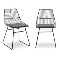 MoDRN Scandinavian Metal Dining Chair with Cushion, Set of 2