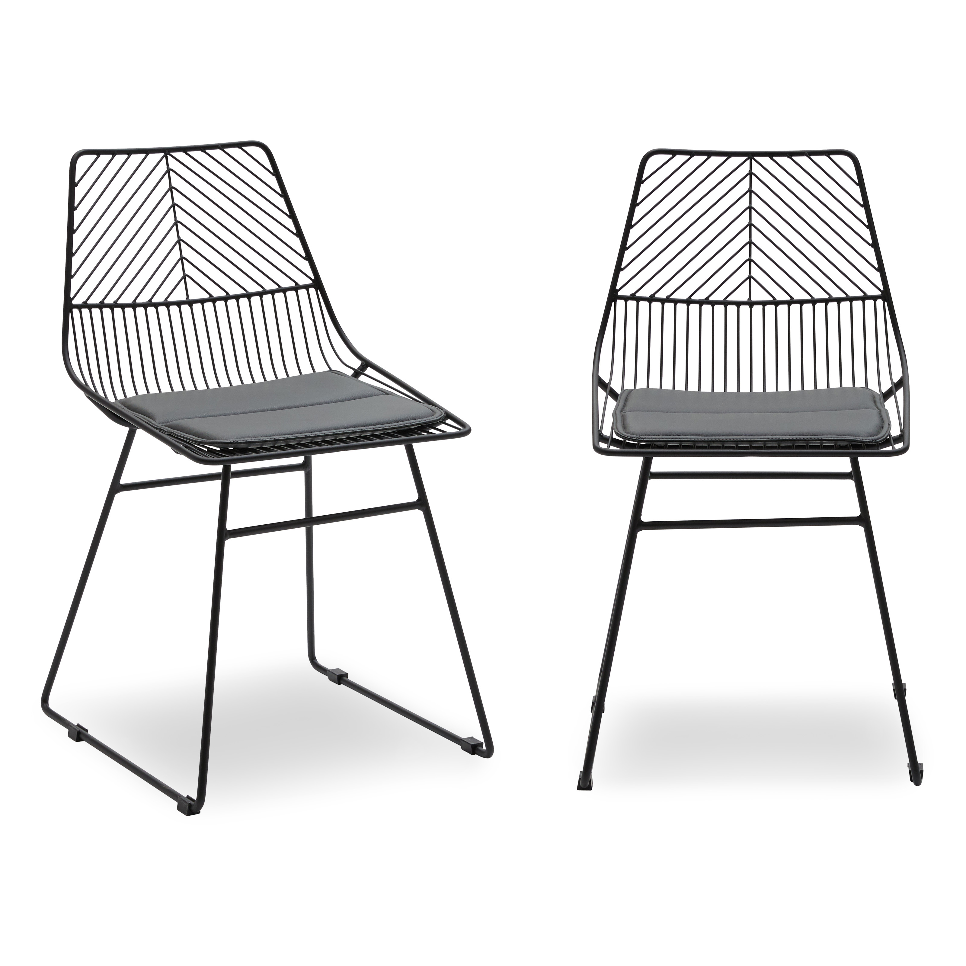 MoDRN Scandinavian Metal Dining Chair With Cushion, Set Of 2