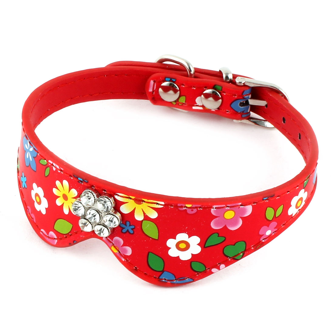 Pet Dog Cat Tie Shaped Flower Pattern Single Pin Buckle Belt Collar Strap Red