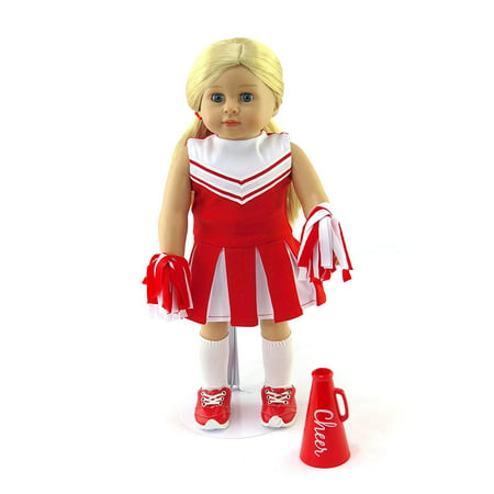 Red Cheerleader Outfit Cheerleading Uniform with Dress, Bloomers, Poms, Megaphone, Socks, and Shoes | 18 Inch Doll - Auburn Cheerleading Outfit