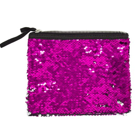 - Womens Girls Flip Sequin Makeup Bag Reversible Mermaid Sequin Two Tone Sequin Cosmetic Case Multi-use Pouch (Fuchsia+Silver)