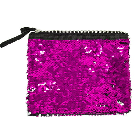 Womens Girls Flip Sequin Makeup Bag Reversible Mermaid Sequin Two Tone Sequin Cosmetic Case Multi-use Pouch (Fuchsia+Silver)