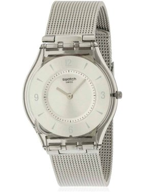 01a0091081c Swatch Women s Silver Metal Knit Watch SFM118M