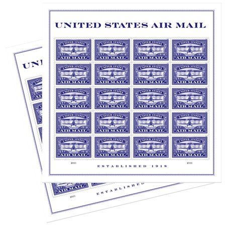Blue United States Airmail 2 Sheets of 20 Forever USPS First Class one Ounce Postage Stamps (40 Stamps) Wedding Celebration