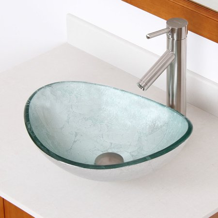 Elite hand painted glass oval vessel bathroom sink for Are vessel sinks out of style