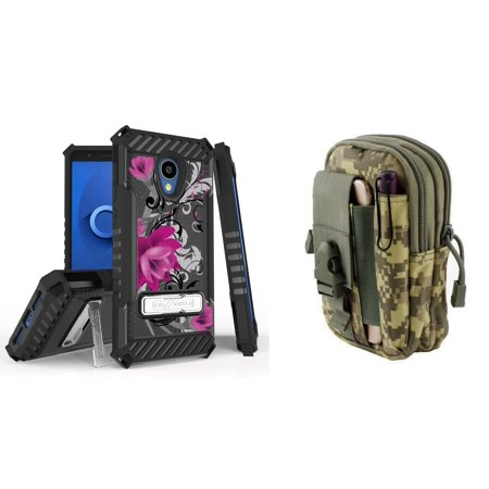Bemz Accessory Bundle for Alcatel TCL LX - Tri-Shield Military Grade Kickstand Case (Lotus Vine) with Tactical Utility MOLLE Pack (ACU Camo) and Atom Cloth for Alcatel TCL LX