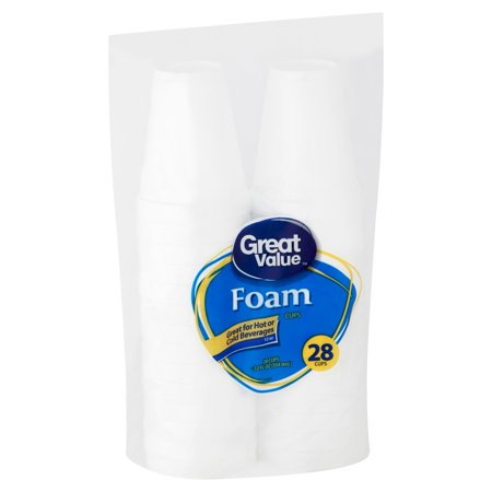 Great Value Foam Cups, 12 oz, 28 Count