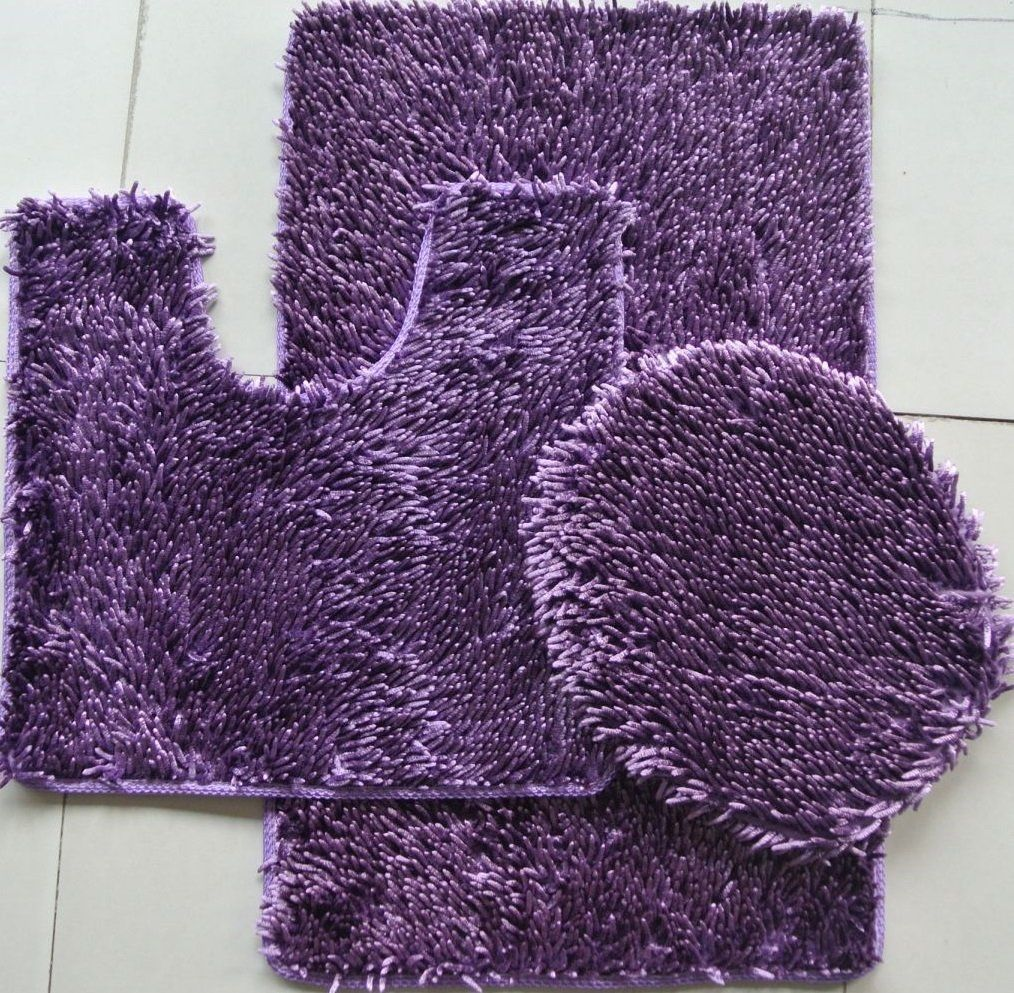 3 PIECE SHINY SOFT PADDED CHENILLE SHAG BATH RUG, CONTOUR RUG AND LID COVER SET, PURPLE