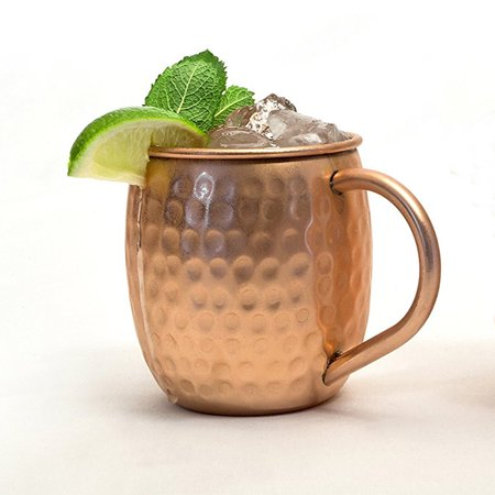Modern Home Authentic 100% Solid Copper Hammered Moscow Mule Mug - Handmade in