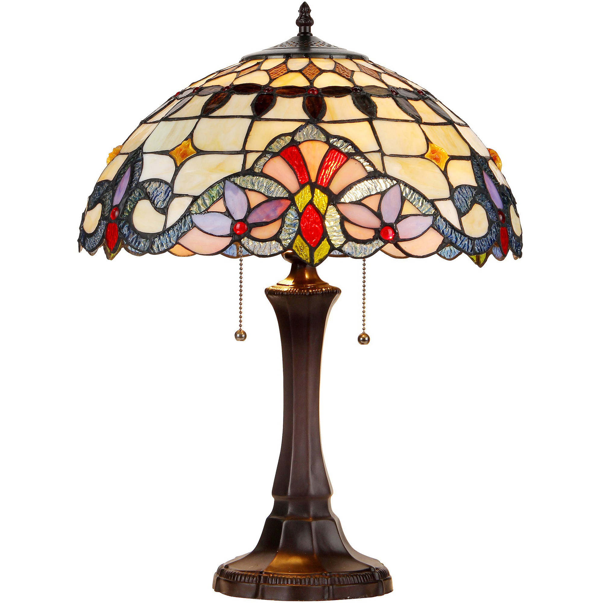 """Chloe Lighting Cooper Tiffany-Style 2-Light Victorian Table Lamp with 16"""" Shade"""