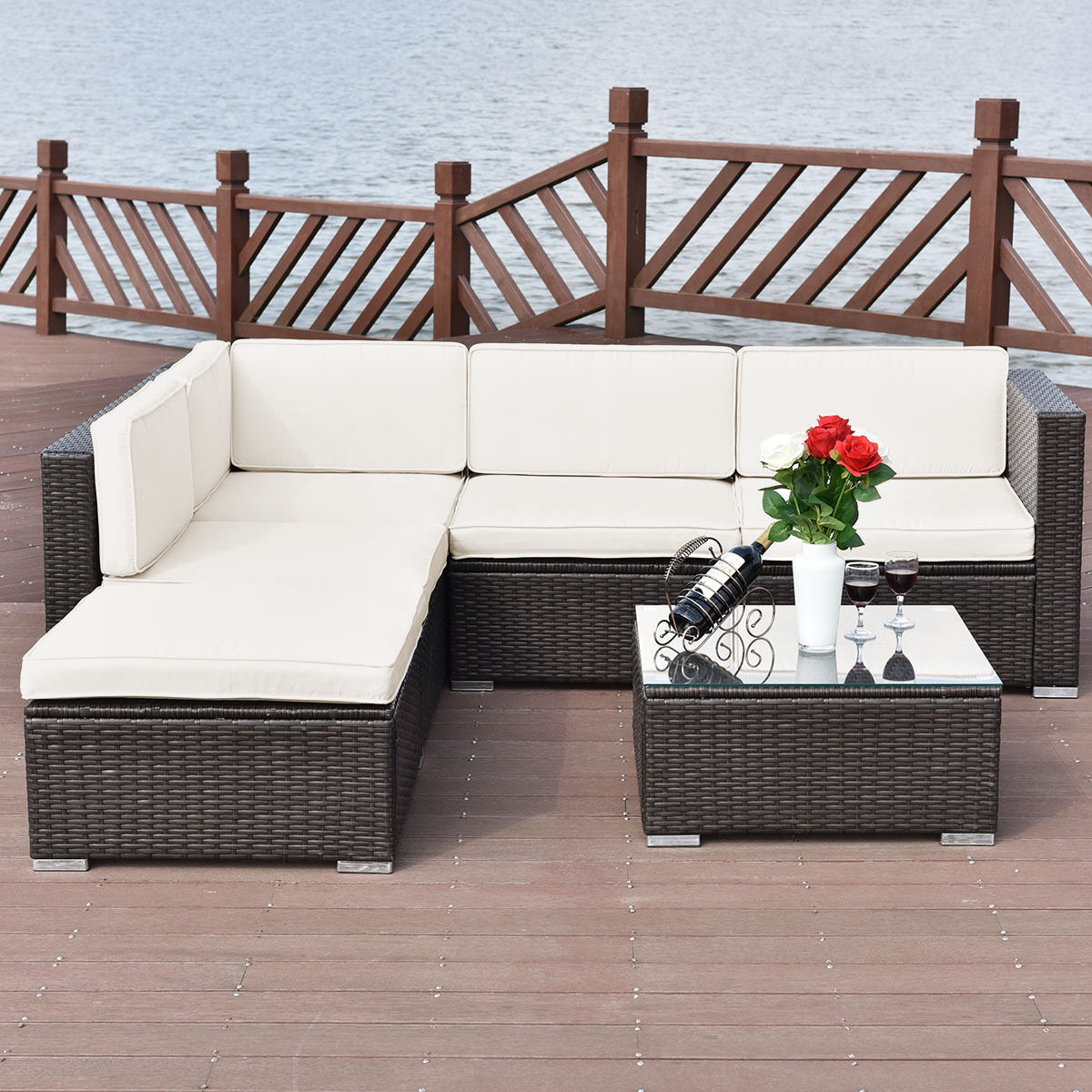 Costway 4 PCS Outdoor Patio Rattan Wicker Furniture Set Loveseat Cushioned Yard Garden by Costway